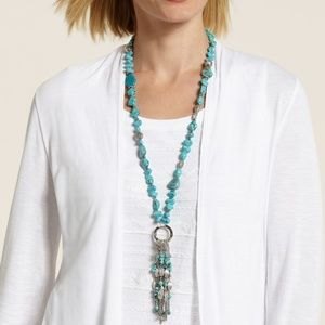 CHICO'S Convertible Lariat Turquoise & Silver Tone